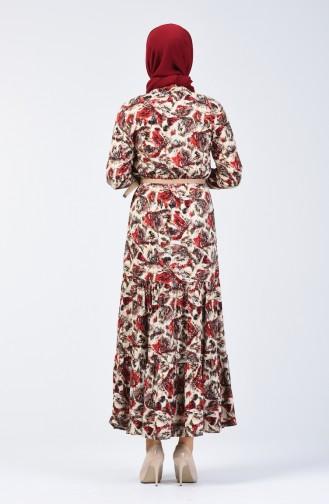 Çiçek Desenli Viskon Elbise 0351-02 Bordo