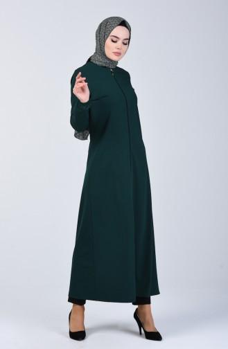عباءة بسحاب وأكمام مطاطية أخضر زمردي 3053-02