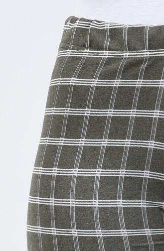 İki İplik Bol Paça Pantolon 8108B-06 Haki Yeşil