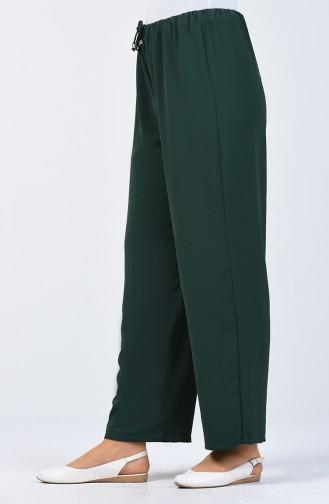 Aerobin Kumaş Beli Lastikli Pantolon 0054-10 Zümrüt Yeşili