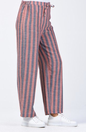 Desenli Bol Paça Pantolon 0116-03 Lacivert Soğan Kabuğu