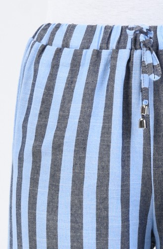 Desenli Bol Paça Pantolon 0116-04 Lacivert Mavi