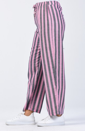 Desenli Bol Paça Pantolon 0116-07 Lacivert Pembe