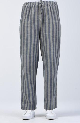 Desenli Bol Paça Pantolon 0116-08 Lacivert Haki
