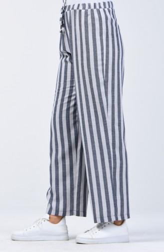 Pantalon Large à Motifs 0116-09 Bleu Marine Bleu Clair 0116-09