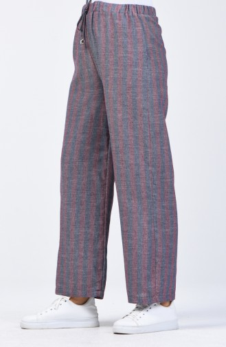 Desenli Bol Paça Pantolon 0116-10 Lacivert Bordo