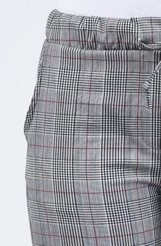 Ekose Desenli Yazlık Pantolon 8006B-01 Gri