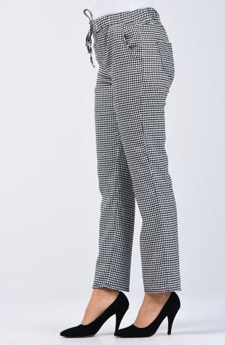 Kazayağı Desenli Yazlık Pantolon 8006D-01 Siyah Beyaz 8006D-01