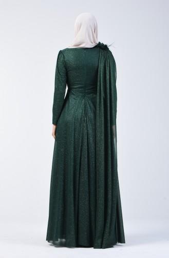 Simli Abiye Elbise 3050-01 Zümrüt Yeşili