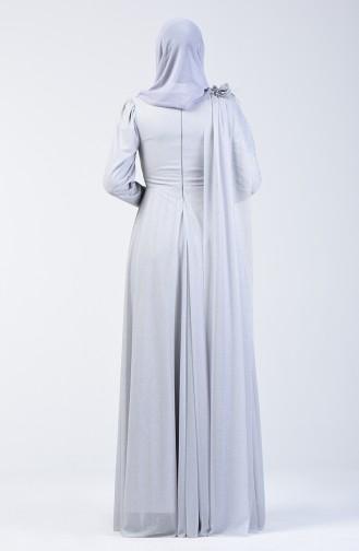 Glittered Evening Dress Dress 3050-04 Grey 3050-04