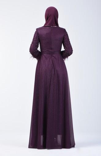 Robe de Soirée Perlée 3062-01 Pourpre 3062-01