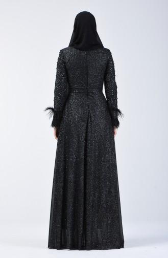 Robe de Soirée Perlée 3062-03 Noir 3062-03