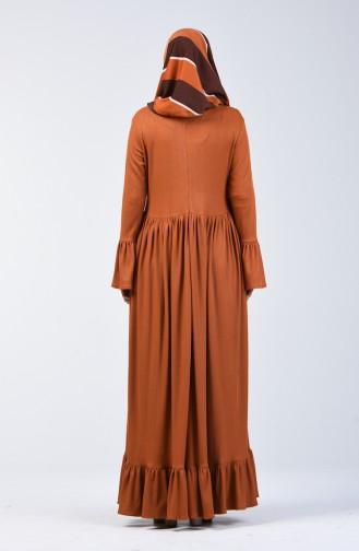 Beli Büzgülü Elbise 81780-01 Hardal 81780-01