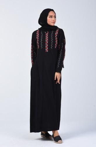 Besticktes Kleid aus Şile-Stoff 3030-01 Schwarz 3030-01