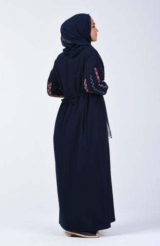 Besticktes Kleid aus Şile-Stoff 3030-02 Dunkelblau 3030-02