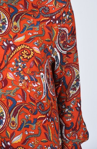 Desenli Viskon Elbise 0075-02 Kiremit