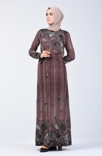 Desenli Kuşaklı Elbise 5708-01 Kahverengi 5708-01