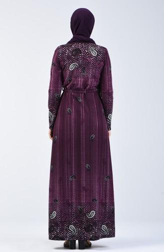 Desenli Kuşaklı Elbise 5708-02 Mor 5708-02