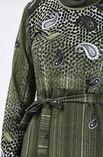 Desenli Kuşaklı Elbise 5708-04 Haki 5708-04