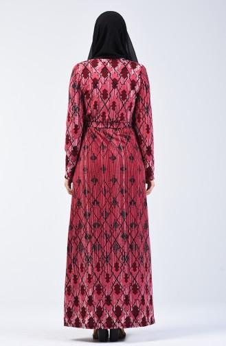 Desenli Kuşaklı Elbise 5708A-01 Fuşya 5708A-01