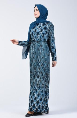 Desenli Kuşaklı Elbise 5708A-02 Mavi