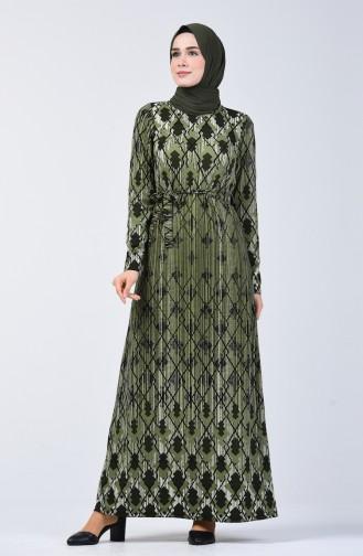Desenli Kuşaklı Elbise 5708A-03 Haki