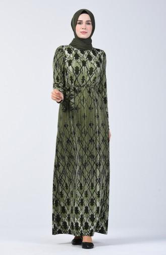 Desenli Kuşaklı Elbise 5708A-03 Haki 5708A-03