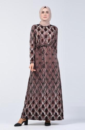 Desenli Kuşaklı Elbise 5708A-04 Kahverengi 5708A-04