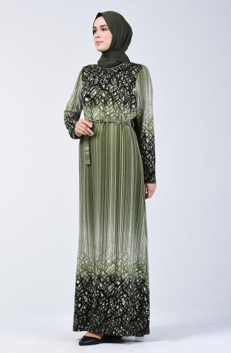 Desenli Kuşaklı Elbise 5708C-02 Haki 5708C-02