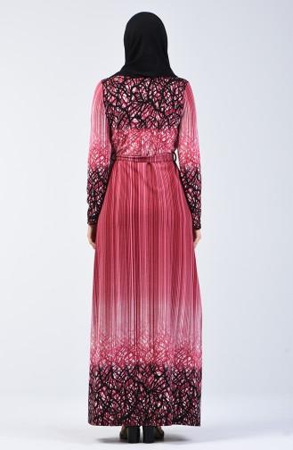 Desenli Kuşaklı Elbise 5708C-03 Fuşya 5708C-03