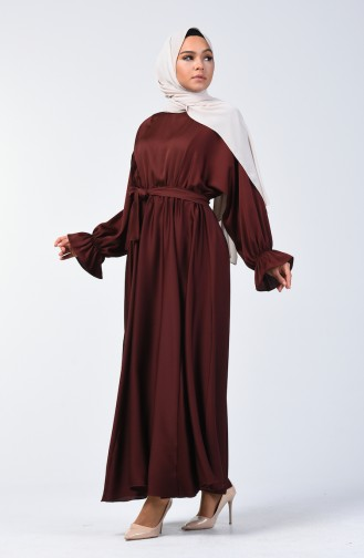 Bat Sleeve Belted Dress 5129-01 Brown 5129-01