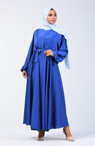 Yarasa Kol Kuşaklı Elbise 5129-02 Saks