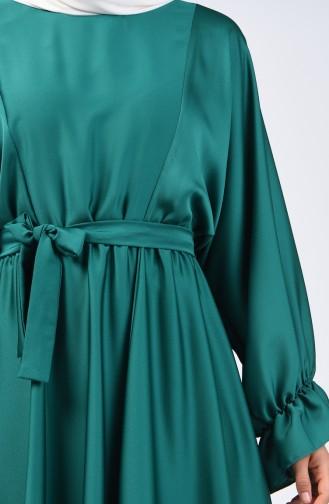 Yarasa Kol Kuşaklı Elbise 5129-05 Zümrüt Yeşili 5129-05