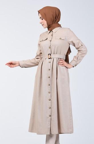 Boydan Düğmeli Uzun Tunik 1307-01 Taş