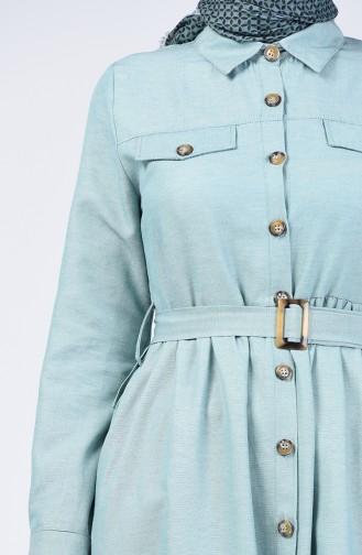 Boydan Düğmeli Uzun Tunik 1307-02 Açık Yeşil