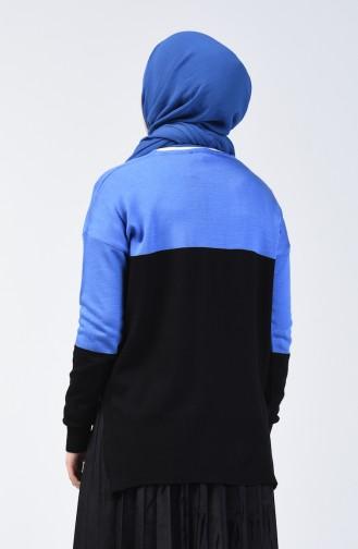 Triko V Yaka Kazak 0569-01 Mavi Siyah