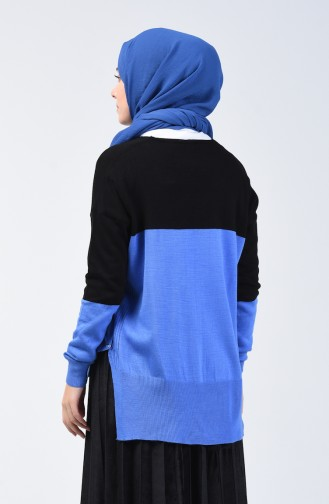 Knitwear V-neck Sweater 0569-05 Black Blue 0569-05
