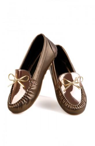 Chaussure Pour Femme 0147-02 Gold Gold Cuir Verni 0147-02