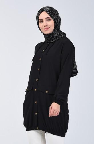 Kapüşonlu Düğmeli Tunik 1303-05 Siyah