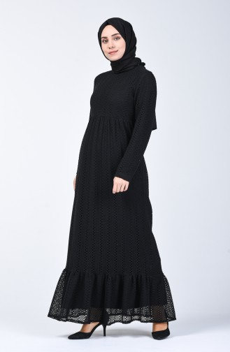 Dantel Detaylı Elbise 2008-02 Siyah