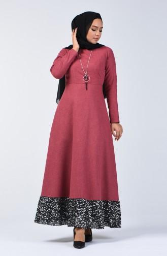 Payet Garnili Elbise 5125-07 Gül Kurusu