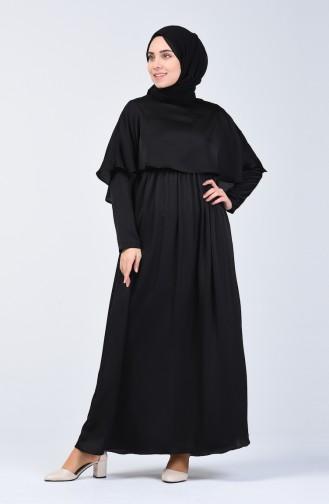 Pelerinli Elbise 5127-02 Siyah