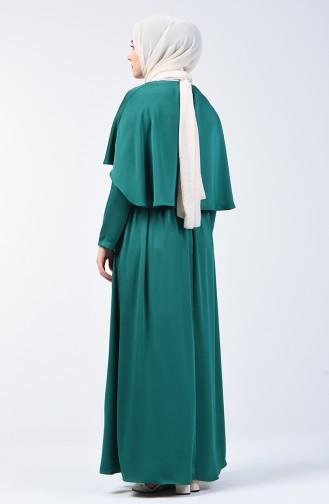 Pelerinli Elbise 5127-05 Zümrüt Yeşili