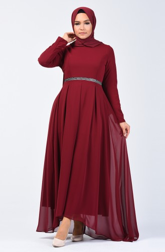 Pileli Şifon Elbise 5128-01 Bordo 5128-01