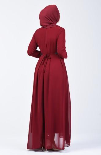 Pileli Şifon Elbise 5128-01 Bordo
