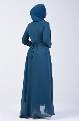 Pileli Şifon Elbise 5128-02 Petrol