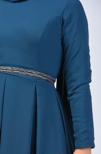 Pleated Chiffon Dress 5128-02 Petrol 5128-02