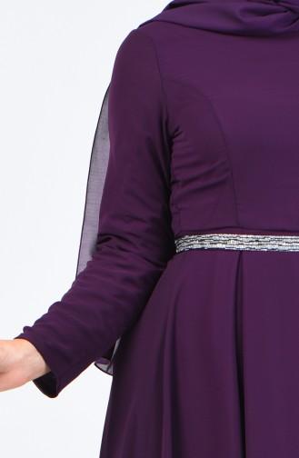 Pleated Chiffon Dress 5128-05 Purple 5128-05