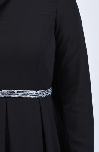 Pileli Şifon Elbise 5128-06 Siyah 5128-06