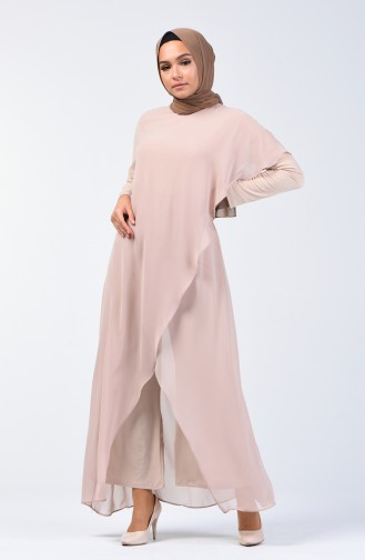 Chiffon Detailed Rumper 5126-04 Beige 5126-04